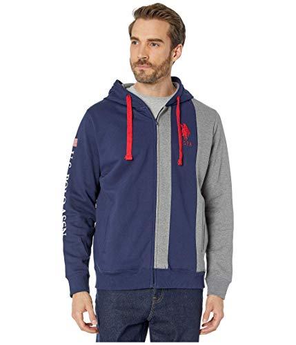 U.S. Polo Assn. Sweat à capuche zippé à manches longues pour homme - Bleu - Small