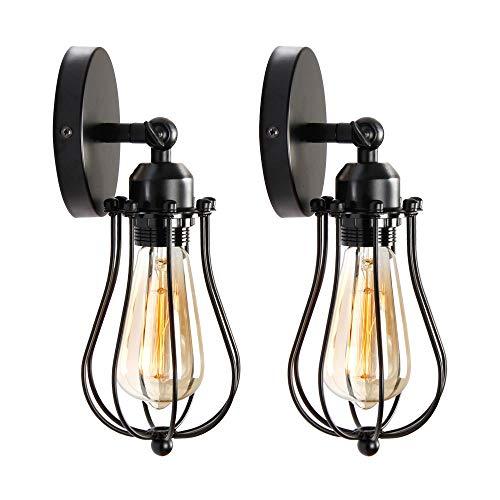 Asvert Vintage Wandleuchte 2 er Wandlampe Retro E27 Wandleuchte Landhaus Industrie Edison Cage Wandlampe Rustikal Metallschirm für Schlafzimmer Wohnzimmer Esstisch, Schwarz(Style 1)
