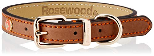 Rosewood Luxury Leather Dog Collar, Brown