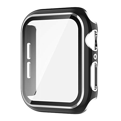 AVIDDA Case Compatible Apple Watch 38mm Built-in Tempered Glass Screen Protector, Silver Edge Black Bumper Full Coverage HD Clear Protective Film Cover for Women Men iWatch 38mm Series 3/2/1