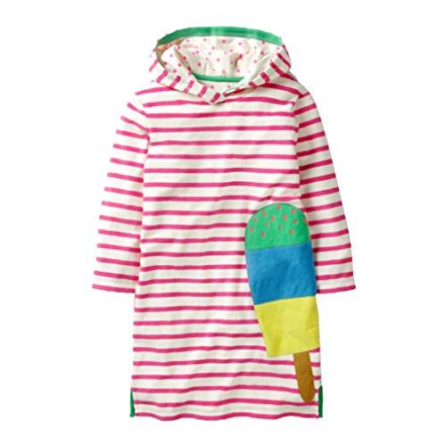 Jurk meisjes lange mouwen herfst katoen leuke karikatuur strepen jurk met een capuchon T-shirt casual zus jurk feestjurk 110/3-4Y Popsicle