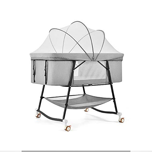Bedside Sleeper, Bassinet Bed 2 in 1 Bassinet for Baby Folding Portable Crib for Travel, Rocking Cradle for Infant/Baby Boy/Baby Girl/Newborn (Color : A)