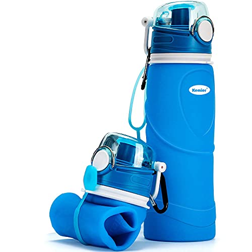 Kemier Bottiglia d'Acqua di Silicone Pieghevole,750ml,Medical Grade,Senza BPA,Approvato dalla FDA.Arrotolabile,a Prova di Perdite,Pieghevole,a Prova di Perdite,Sport e Uscite all'Aperto (Blu)…