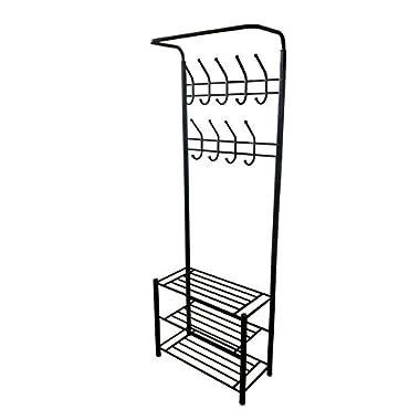 Black Metal Entryway Storage 3-tier Shoe with Coat Hat Rack 18 Hooks
