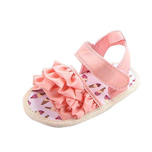 WINJIN Sandales Bébé Fille Chaussons Premiers Pas Chaussure d'été Fille Enfants (0-18 Mois, Rose)