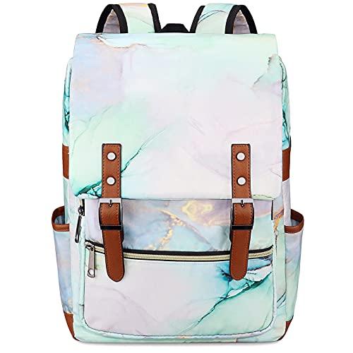 Xinveen - Mochila para ordenador portátil, diseño de colegio, mochila de viaje, mármol, Talla única