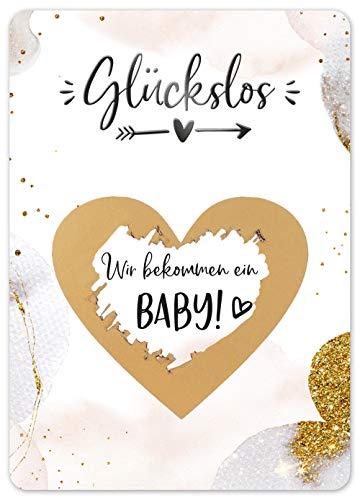 JoliCoon Rubbelkarte Wir bekommen ein Baby - Golden Glamour - Schwangerschaft verkünden