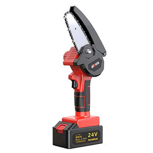 KKYY Tronconneuse a Batterie, Tronconneuse Electrique Rechargeable de 24V, Scie Délagage Portable à Vitesse Réglable, Diamètre de Coupe Maximum 20cm