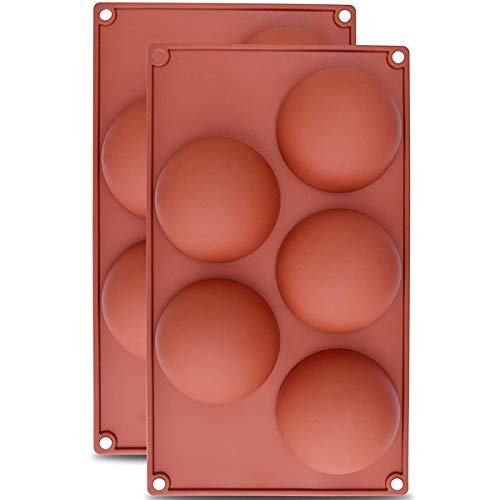 Round Silicone Mold, 5 Semi Sphere Cake Mould, DIY Dome Mousse Baking Pan, for Making Chocolate Jelly, Pack of two