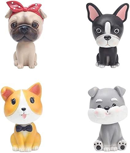 CONJUNTO de 4 decorações de painel de carro de cachorro cachorrinho balançando a cabeça enfeites de resina de mesa