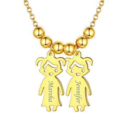 ChicSilver Dos Niñas Figuras Collares Modernos con Nombres Grabados Colgantes Elegantes para Aniversario y Cumpleaños Accesorios de Moda para Cuello
