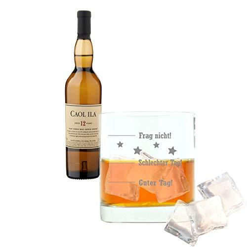 Whiskey 2er Set, Caol Ila 12 Years / Jahre, Single Malt, Whisky, Scotch, Alkohol, Alokoholgetränk, Flasche, 43%, 200 ml, 647650, Geschenk zum Vatertag, mit graviertem Glas