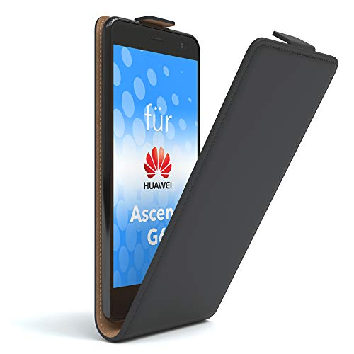 EAZY CASE Hülle kompatibel mit Huawei Ascend G6 Flip Cover zum Aufklappen, Handyhülle aufklappbar, Schutzhülle, Flipcover, Flipcase, Flipstyle Hülle vertikal klappbar, aus Kunstleder, Schwarz