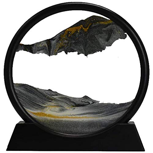 Noblik Moving Sand Art Picture Round Glass 3D Deep Sea Sandscape in Motion Display Flowing Sand Frame(12inch)