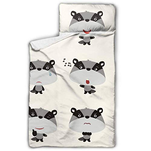"""WUTMVING Cute Cartoon Raccoon Traveling Sleeping Bag Daycare Cots for Kids with Blanket and Pillow Rollup Design Great for Preschool Daycare Sleepovers 50""""x20"""""""