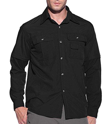 KEFITEVD Herren UV Hemd Schutzkleidung Outdoor Shirt Langarm Zip Off Ärmel Safari Hemd Leicht Dünn Army Shirt Longsleeve Sommer Herbst Schwarz XL