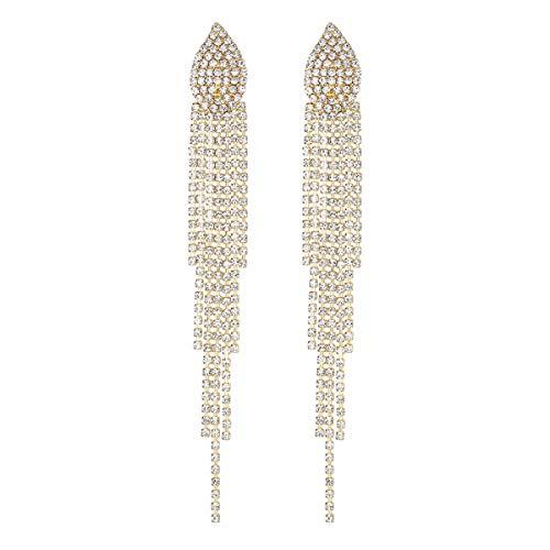 Mecresh Silber Strass Kristall Braut Kronleuchter lange Quasten baumeln Ohrringe für Hochzeitskleid B