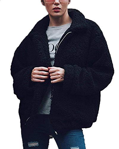 Parabler Damen Mantel Plüschjacke Winterjacke Steppjacke Fleecejacke Warmen Outwear Reißverschluss Langarm Cardigan Faux Parka Steetwear (Schwarz, EU 36/ S)