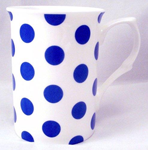 Pois Bleu Tasses Lot de 6 Tasses en porcelaine fine Bleu décoré à la main au Royaume-Uni