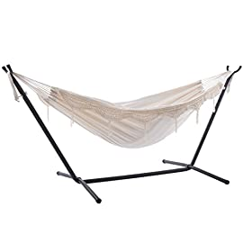 Vivere C9POLY-13 Double Polyester Hammock with Space Saving Steel Stand, Aqua (450 lb Capacity - Premium Carry Bag… 7 Vivere combo, the double hammock with stand and carry bag is our top choice for combos. The double hammock is tightly woven with high quality cotton thread resulting in a heavy, durable fabric. The hammock stand is constructed of heavy duty Steel and assembles in minutes without any tools. Vivere hammocks have pure polyester end strings that will last longer than traditional cotton end strings