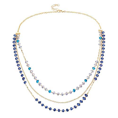 Hellery Dreireihig Geschichteten Glaskristall Perlenkette 79cm Kette Einstellbare Größe