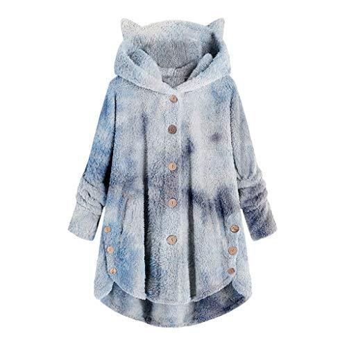 Xmiral Hoodie für Damen Plüsch Loose Button Tops Farbverlauf Krawatte Bedruckter Kapuzenpullover Mantel mit Tasche(c-Himmelblau,5XL)