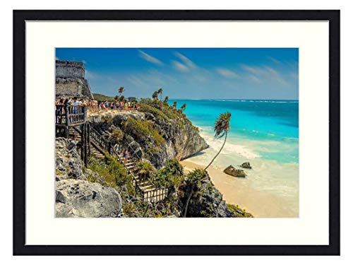 Wall Art Canvas Prints Wood Framed Paintings Artworks Pictures(20x14 inch) - Tulum Mexico Beach Beach in Mexico Landscape Ocean