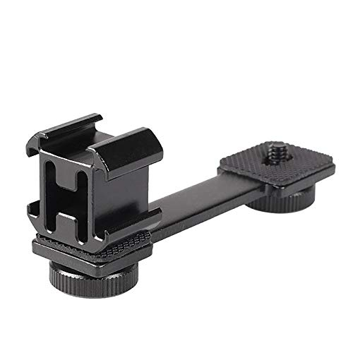 NEOHOOK 3 in 1 Triple Hot Shoe Mount Adapter Extension Bracket Holder Microphone Stand for Zhiyun Smooth 4 for OSMO Mobile