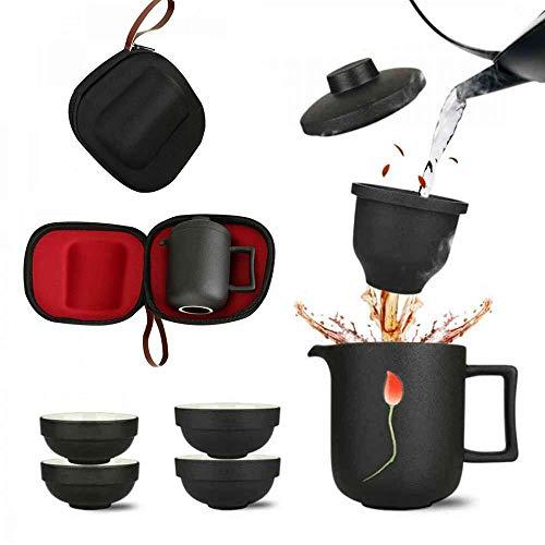 Juego de tetera con 4 tazas de cerámica con infusor para té de hojas sueltas o té en flor, juego de té Kungfu portátil de viaje con funda, hecho a mano, estilo japonés chino, Lotus