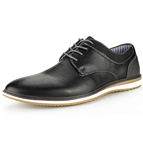 MERRYLAND Men's Business Casual Oxford Shoes,Black PU, 12 M US