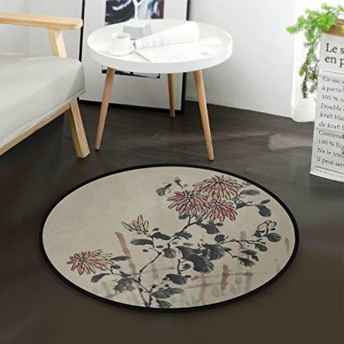 N\A Área para niños Alfombra Cultura China Pintura Tradicional con Tinta Alfombras de Flores Alfombra de Aula Redonda 3 pies Antideslizante para Dormitorio Sala de Estar Estudio