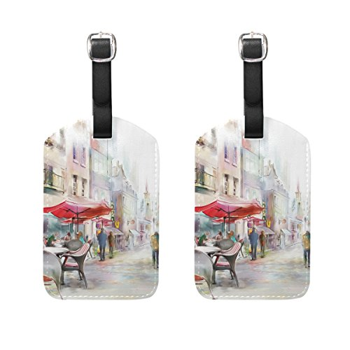 COOSUN Paris Street Luggage Tags Travel Labels Tag Name Card Holder for Baggage Suitcase Bag Backpacks, 2 PCS