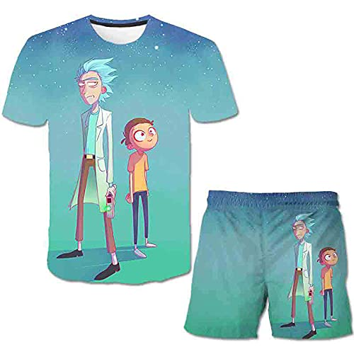 Vestito da Ragazzo Rick Morty, T-Shirt Anime Girocollo T-Shirt Anime all-Match Casual Shorts, Set di 2 Pezzi dei Cartoni Animati per Bambini Rick Morty-1-120