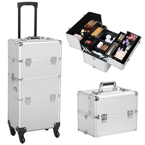 Yaheetech Alu Kosmetik Trolley Kosmetikkoffer 3 in 1 Schminkkoffer Leer Friseurkoffer Nail Art Koffer mit 4 Stück 360° Rollen