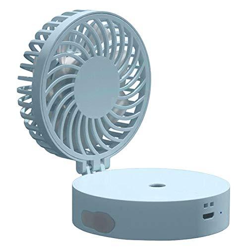 Yuxahiugfs Small Desk Fan, Silencio USB Conveniente Humidificación De Escritorio Y De Carga Pequeño Ventilador, con Iluminación LED Portátil Aerosol De Agua del Ventilador Eléctrico De Niebla