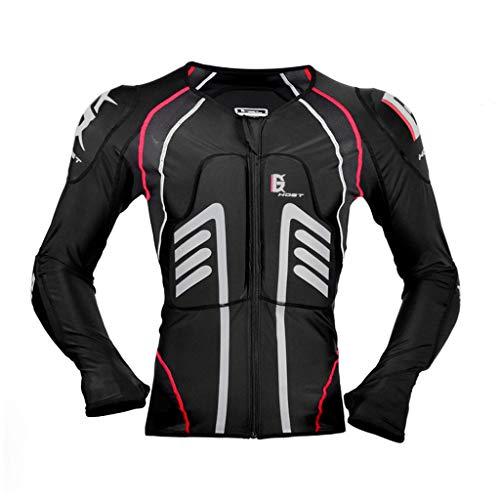 1-1 Motorrad Schutz Jacke Pro Motocross ATV Protektorenjacke mit Rücken Protektor Scooter MTB Enduro für Damen und Herren,Black-M