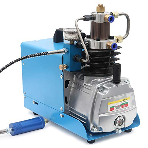 High-Pressure Electric Air Compressor Pump 4500 PSI 30 MPa 300 BAR High Pressure System Rifle PCP Paintball Fill Station for Fire Fighting and Diving (30Mpa)