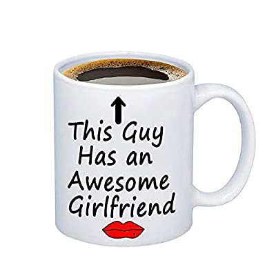 PXTIDY Funny Mug for Boyfriend This Guy Has an Awesome Girlfriend Coffee Mug Cup Birthday Valentines Day Gifts Boyfriend Coffee Mug Boyfriend Gag Gifts (white)