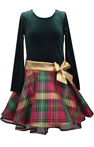 Bonnie Jean Green Holiday Christmas Velvet Hipster Dress for Toddler, Little and Big Girls (2T)