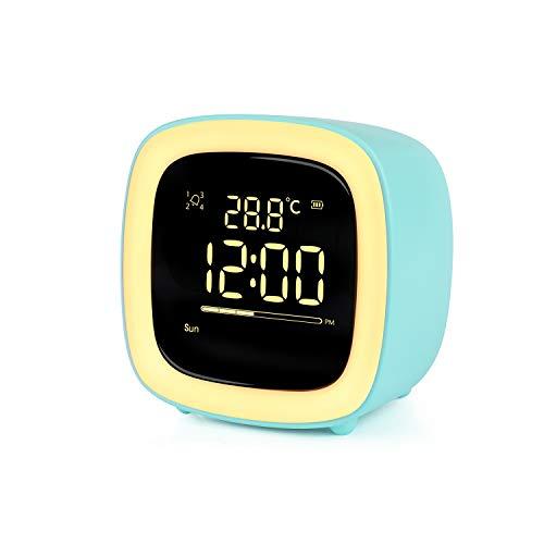 Reloj Despertador Digital para Niños,Lindo Diseño Luz nocturna Despertador Cuenta Regresiva Repetición Luz del Temporizador 4 Alarmas Control de Voz Recargable Despertador para niños (Verde)