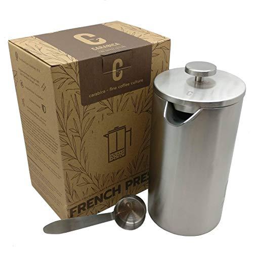 carabica French Press Stempelkanne | Kaffeebereiter | doppelwandig | Edelstahl (Silver Steel)