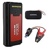 1200A Auto Starthilfe,Zeonetak Tragbare Autobatterie Anlasser Power Pack (bis zu 7.2L Benzin,5.2L...