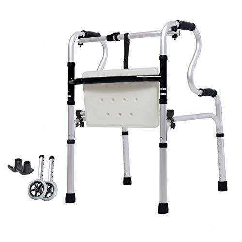 Estándares Andador Plegable bariátrico para Trabajo Pesado con Asiento y Ruedas para Personas Mayores - Andadores Adultos - Ayuda portátil de Movilidad para Adultos de Altura Ajustable ⭐
