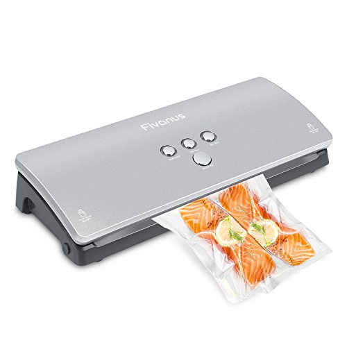 Vacuum Sealer, Fivanus Automatic Food Sealer Machine with Starter Bags for Food Savers and Sous Vide, Silver
