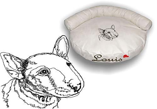 LunaChild Hunde Sofa Hundebett Lounge Hundelounge Bullterrier 1 Terrier mit Name Snuggle Bag Größe S M L oder XL viele Farben Hundekorb Wunschname