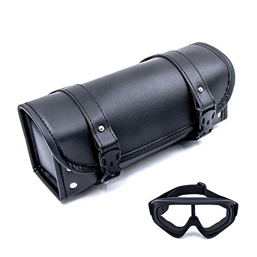 Cynemo Motorcycle Handlebar Bag, Waterproof Synthetic PU Leather Motorcycle Fork Bags Tool Pouch for Men Women Adult