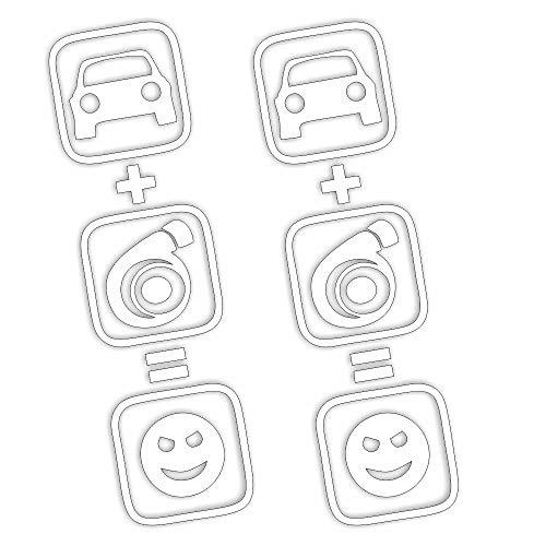 Folien-zentrum 2X Auto+Turbo=Smiley Hochformat 5 x 18 cm blanco autoadhesiva Tuning 246 Shocker Auto JDM OEM Dub Decal Sticker Illest Dapper Oldschool lámina
