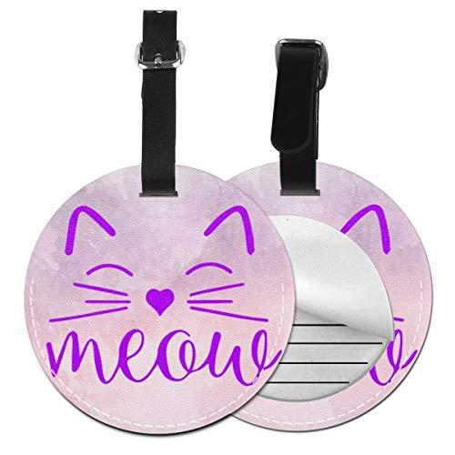 Etiquetas para Equipaje Bolso ID Tag Viaje Bolso De La Maleta Identifier Las Etiquetas Maletas Viaje Luggage ID Tag para Maletas Equipaje Disfraz de Cara de Gato Miau Amante de los Gatos