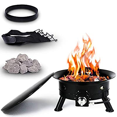 Project One Portable Outdoor Propane Fire Pit with Cover, Carry Kit, & Lava Rocks, 24-Inch Diameter 58,000 BTU, Diamond Pattern