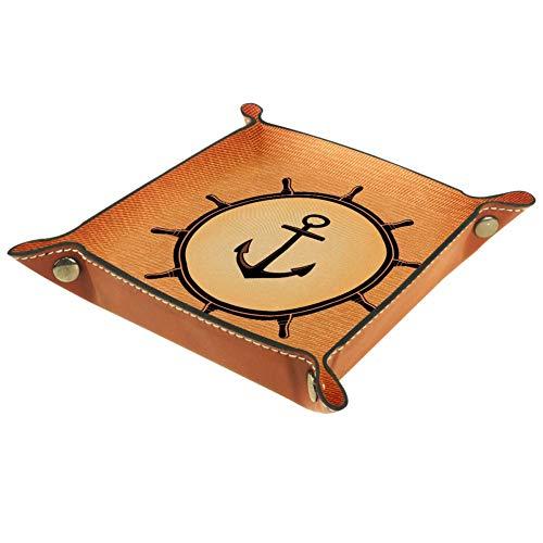 Bennigiry Valet Tablett mit nautischem Anker-Druck, Leder-Schmucktablett für Geldbörse, Uhren, Schlüssel, Münzen, Handys und Bürogeräte, Multi, 16 x 16 cm